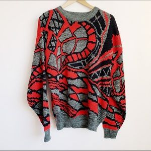 80s/90s graphic print knit sweater (mens)